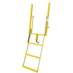 Close up view of Double Handle Wide 3 Step Adjustable Stake Rolson Ladder